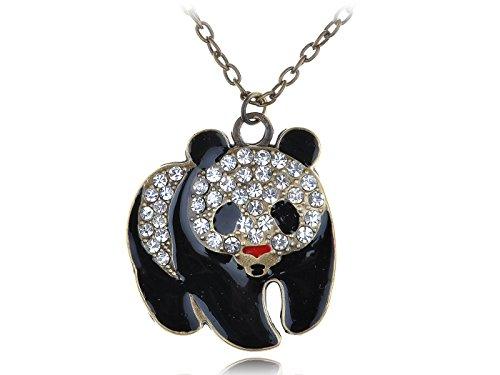 ALILANG Womens antieke gouden toon duidelijke steentjes Giant Baby Panda beer hanger ketting
