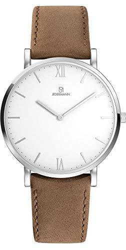 Herren Uhr Bauhaus-Stil Schweizer Uhrwerk Saphirglas weißes Ziffernblatt Gehäusedurchmesser 41mm Exklusives Lederarmband aus Rauleder - Herbert JEDERMANN