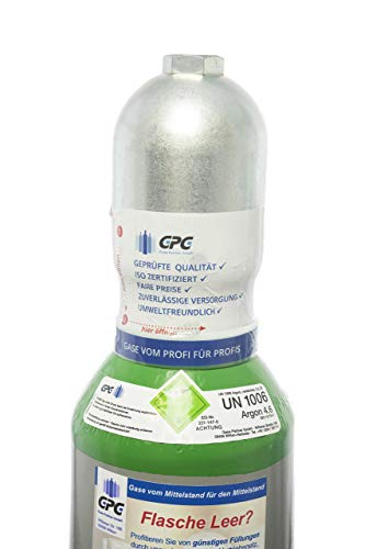 Argon 4.6 10 Liter Flasche/NEUE Gasflasche (Eigentumsflasche), gefüllt mit Argon 4.6 (Reinheit 99,996%)/10 Jahre TÜV ab Herstelldatum/EU Zulassung/PROFI-Schweißargon WIG,MIG - Globalimport