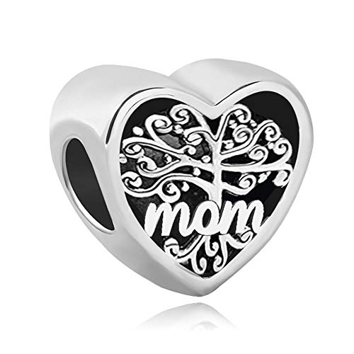 UNIQUEEN Mother's Gift Charm Tree of Life Mom Heart Love Charms Bead fit Charm Necklace Bracelet