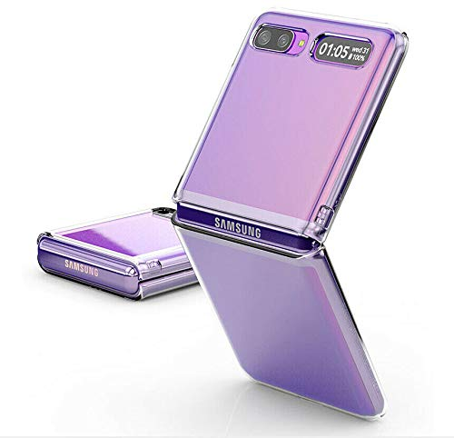 UNEVIE Funda Samsung Galaxy Z Flip (2020), Transparente, Completa Protección, Resistente a Arañazos [Funda + Protector de Pantalla Gratis] [Calidad Mejorada]