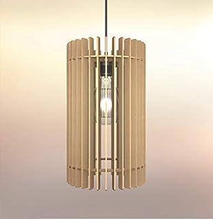 Lampadario Lampada sospensione Paralume rustico moderno in legno-Design Cilindro