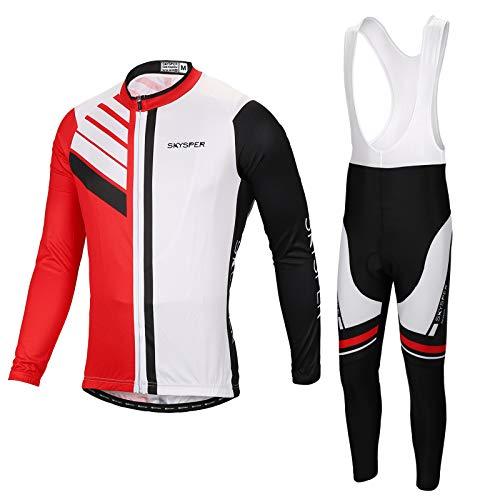 SKYSPER Maillot Ciclismo Hombres Jersey Mangas Largas Pantalones Largos Culotte de Ciclismo...