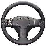NsbsXs Für Toyota RAV4 2006 2012 Vios 2008 2013 Yaris 2007 2011 Schwarz PU Handgenähte Autolenkradabdeckung