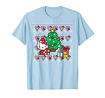 Hello Kitty Candy Cane Christmas Sweater Tee Shirt