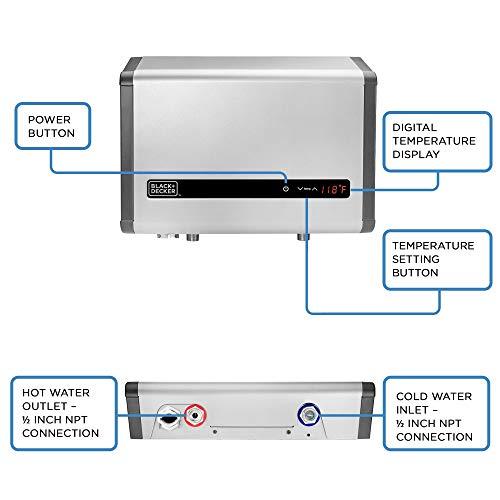 BLACK+DECKER Black+Decker 24 kW Self-Modulating 4.68 GPM Electric Tankless Water Heater, Multi-Application hot water heater electric