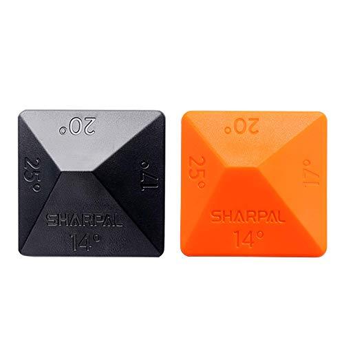 SHARPALl 196N ANGLE PYRAMID Guía de ángulo para piedra de afilado para afiladores con piedra de afilado, 2 unidades, 4 ángulos universales: 14°, 17°, 20° y 25°