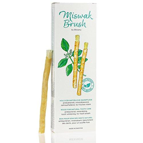 Brosse à dents Miswak de BLISSANY- brosse à dents Arabian traditionnelle, brosse à dents en bois, pour dents blanches naturelles, 5pcs