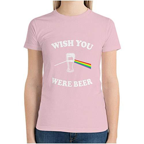Camiseta de manga corta para mujer, de algodn, con texto en ingls 'Wish you were Beer' rosa S