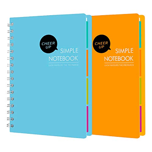 Cheer Up Spiral Notebook College Ruled, A5 Notebooks 4 Subject with Dividers, 2 Pack (Blue + Yellow)