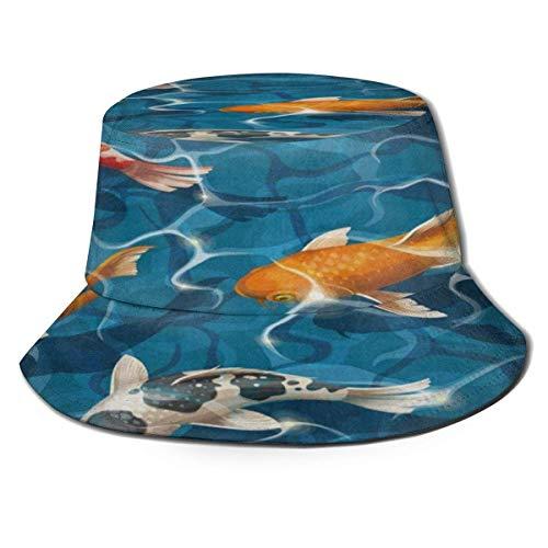 chenguang4422 Sombrero de cubo para mujer azul océano mar naranja Koi carpa única plegable al aire libre ala ancha sombrero de sol para hombres