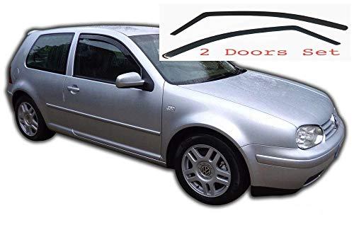 2x Windabweiser kompatibel für VW Volkswagen Golf 4 IV  MK4 1997 1998 1999 2000 2001 2002 2003 2004 MK4 3-Türer Premium Qualität Acrylglas PMMA Regenabweiser Abweiser