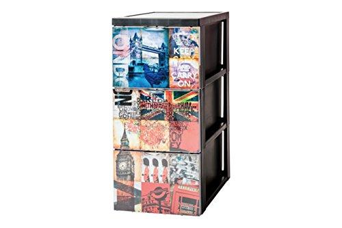Iris Ohyama, design del cabinet bagagli cassetti 3 - Stile Chest - SCF-303, di plastica, di Londra, 45 L, 29 x 39 x 61,5 cm