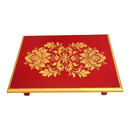 KAANUS Wooden Pooja Chowki with Art Work (16 X 12 X 4 Inch). Diwali Gift| Diwali Pooja Patta |Diwali Home décor (RED Gold)