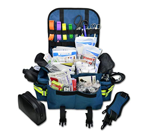 Lightning X Small First Responder EMT EMS Trauma Bag Stocked First Aid Fill Kit B (Navy Blue)