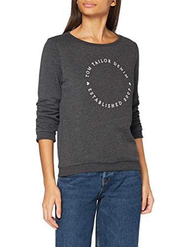 TOM TAILOR Denim Damen Logo Print Sweatshirt, 10522-Shale Grey Melange, M