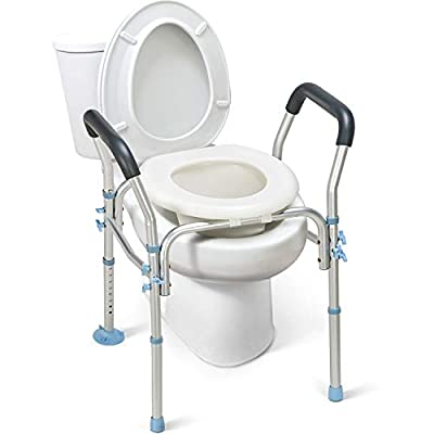 OasisSpace Stand Alone Raised Toilet Seat 300lbs - Heavy Duty Medical Raised Homecare Commode and Safety Frame, Height Adjustable Legs, Bathroom Assist Frame for Elderly, Handicap, Disabled by OasisSpace