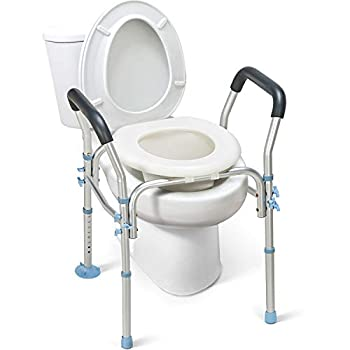OasisSpace Stand Alone Raised Toilet Seat 300lbs - Heavy Duty Medical Raised Homecare Commode and Safety Frame Height Adjustable Legs Bathroom Assist Frame for Elderly Handicap Disabled