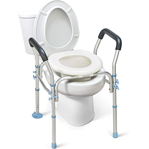OasisSpace Stand Alone Raised Toilet Seat 300lbs - Heavy Duty Medical Raised Homecare Commode and Safety Frame, Height Adjustable Legs, Bathroom Assist Frame for Elderly, Handicap, Disabled
