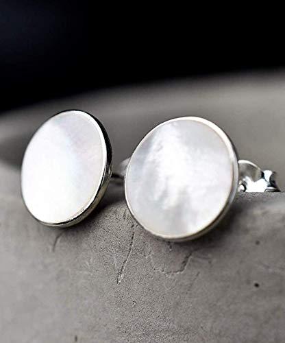 Mini Ohrstecker echtes Perlmutt - Silber 925 Sterling - Rund - mit Geschenkbox