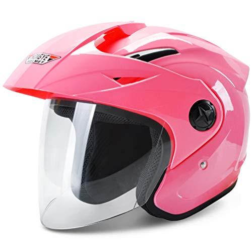 Qianliuk Moto Moto antifog Mezzo Casco Sunproof Protezione Antipioggia caSchi Motocross con Visiera Uomini Donne Quattro Stagione Sicurezza Tappi 53-61cm