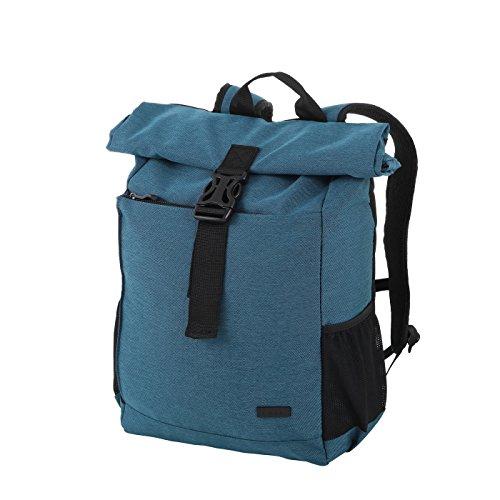 Rada Roll-Top Rucksack RS/27, stylischer Tagesrucksack aus wasserabweisendem Polyester, Schulrucksack für Jungen und Mädchen, Daypack (32x42x12cm) (petrol2tone)