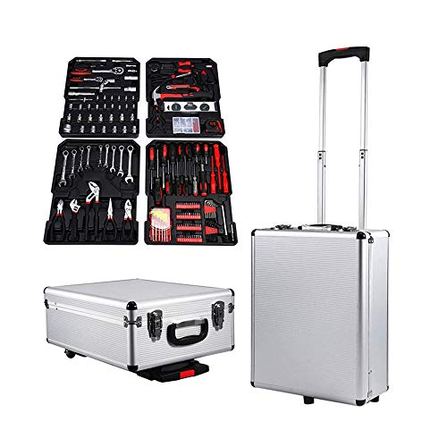 45x36x17 cm waterdichte aluminium trolley toolbox hand-gereedschapsset box mechanics kit box organiseren rollen toolbox trolley