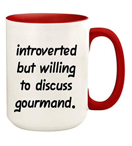 Introverted But Willing To Discuss Gourmand - 15oz Ceramic White Coffee Mug Cup, Red