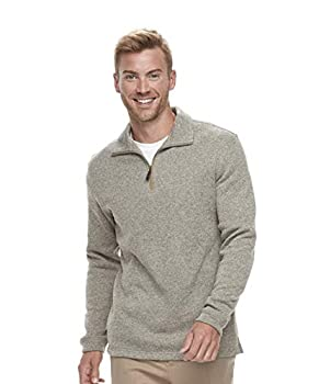 Haggar Men s Classic-Fit Fleece Quarter-Zip Pullover Sweater  Rope Heather Small
