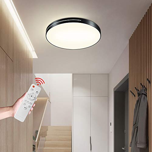 HENGMEI 36W Deckenleuchte LED Deckenlampe Dimmbar mit Fernbedienung Ultra dünn Wohnraumleuchte Acryl Kreative Einfachheit Küchenlampe für Büro, Küche, Wohnzimmer Schlafzimmer, Schwarzer Rahmen