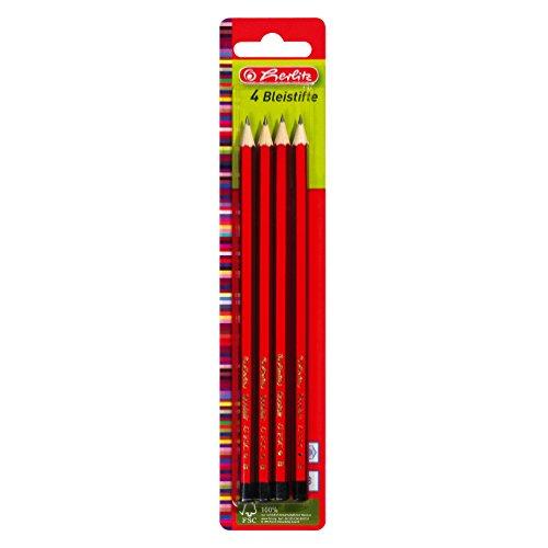Herlitz Bleistifte Scolair, B, bruchsichere Mine, 4 Stück auf Blisterkarte