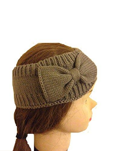 Braun Wolle maschine-gestrickte Stirnband mit Schleife. Schöne, den Kopf im Winter warm zu halten. (Brown woollen machine-knitted headband with bow. Lovely to keep your head warm in the winter.)