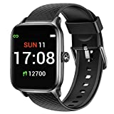 Letsfit Smart Watch Compatible with iPhone and Android Phones, Fitness Tracker with Heart Rate Monitor, Sleep Monitor & Blood Oxygen Saturation, 5ATM Waterproof Smartwatch for Women Men-Black
