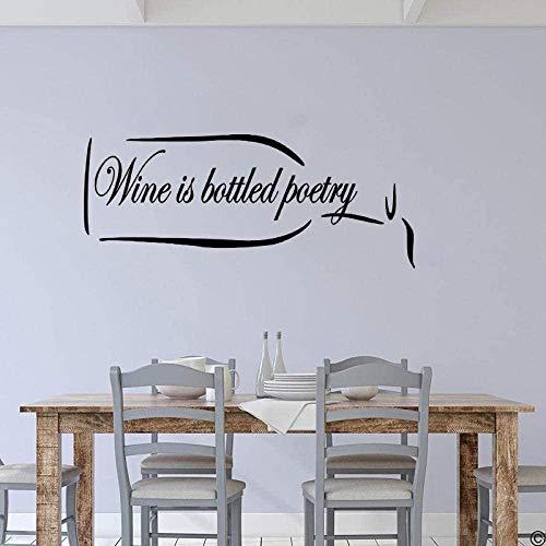 El vino está embotellado Poesía Etiqueta de la pared Cita inspiradora Oso Bar de vinos Campeón Etiqueta de la pared Cocina Comedor Vinilo Decoración para el hogar 34x84cm