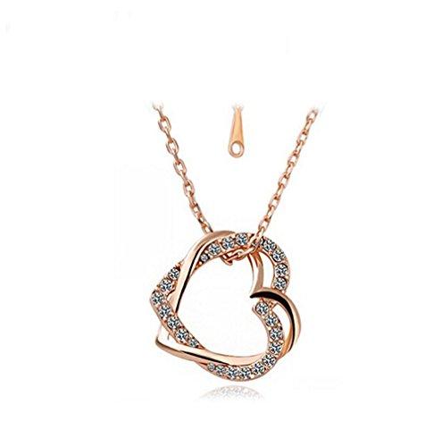 Gudeke Collar Colgante cristalina del Amor del corazón del Doble Twining Indumentaria Femenina Simples (Dorado)