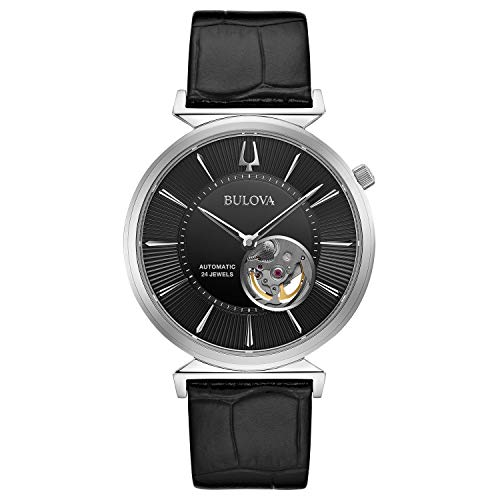 Bulova Classic Automatic Mens Stainless Steel with Black Leather Strap, Silver-Tone (Model: 96A234)