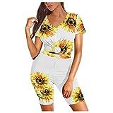 VESNIBA Conjunto de chándal para mujer, chándal de 2 piezas, camiseta de manga corta y pantalón para correr, ropa deportiva amarillo L
