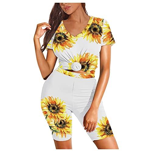 VESNIBA Conjunto de chándal para mujer, chándal de 2 piezas, camiseta de manga corta y pantalón para correr, ropa deportiva amarillo 6 1/2 HS
