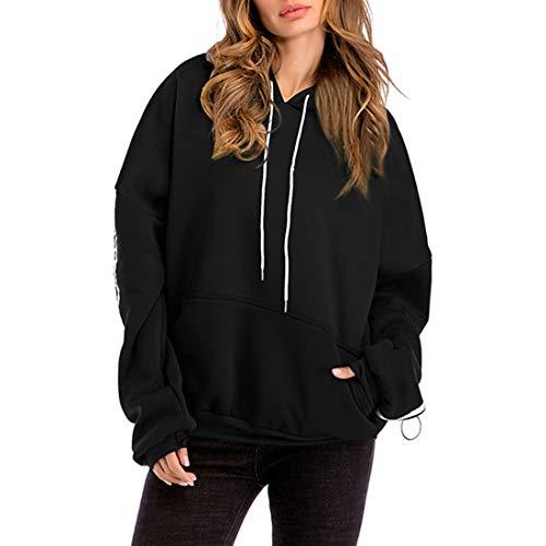Csc Hoodie Damen Sweatshirt Damen Elegant Frühling Einfarbig Locker Warm Bequem Sweatshirt Winter Mode Langarm Lässige Damen Hoodies B-Black XXL