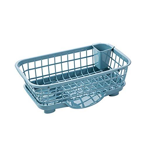 Cesta de Drenaje Plato de los hogares de almacenamiento en rack con los palillos jaula hogar desmontable drenaje ESCURREPLATOS cocina vajilla de plástico estante de secado ESCURREPLATOS Organizador de
