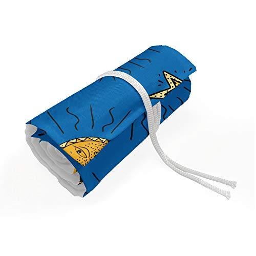 ABAKUHAUS Kinderen Etui met Rolomslag voor Pennen, Sun and Moon Phases Layout, Duurzame & Draagbare Potloodetui, 48 Vakjes, Cobalt Blue en Mosterd