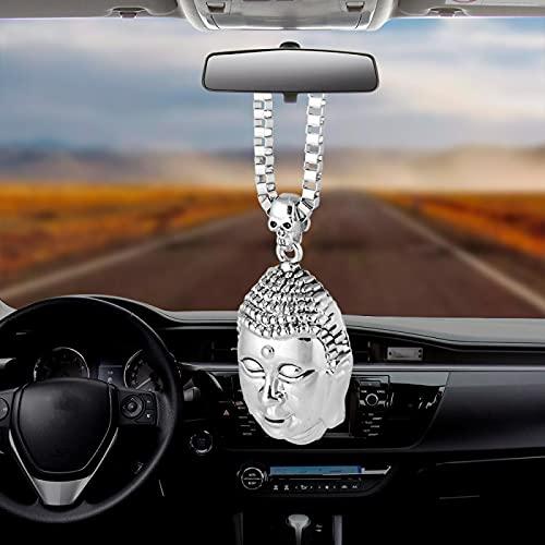 Car Pendant Fortune Lucky Buddha Ornaments Styling Hanging Auto Interior Rear View Mirror Decoration Dangle Trim Accessory Auto Silver Colgante Decoración de Pared Auto