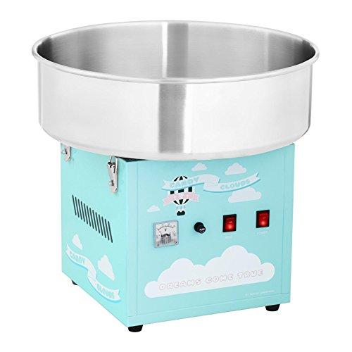 Royal Catering Zuckerwattemaschine Profi Cotton Candy Maschine RCZK-1200-BG (1200 W, Ø 52 cm, 1 Einheit / 30-60 s, separate Steuerung Thermostat und Rotation, inkl. Messlöffel) Türkis