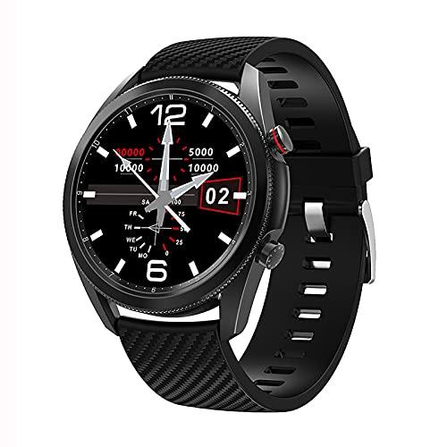 QFSLR Smartwatch 1.3 ″ Pantalla Táctil Frecuencia Cardíaca Presión Arterial Sueño Spo2 Monitoreo Llamada Bluetooth IP67 Podómetro Impermeable Reloj Deportivo Inteligente,Black a