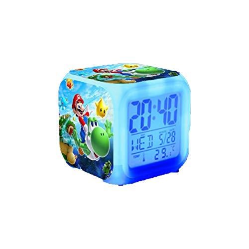XINKANG Reloj Super Mario Mario Alarm Super Mary Mario Bros Colorido Brillante Alarma Reloj Regalo