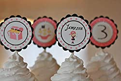 customizable pink pirate cupcake toppers