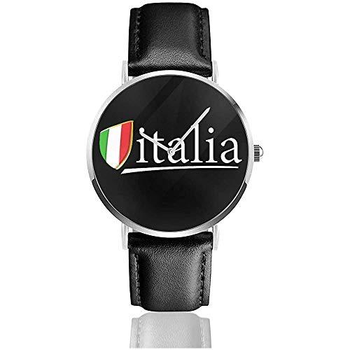 Orologio da polso stampa unisex con stampa UV I Love Italy Bandiera italiana in pelle con cinturino in pelle PU