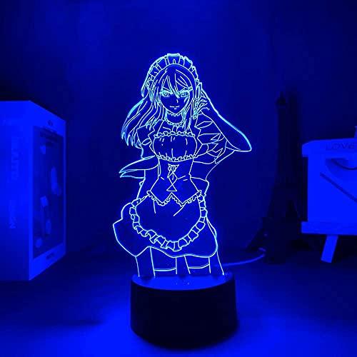 FZRZGDSH Figura Sexy Maid Sama Manga Lámpara 3D para decoración de habitación de niños Luz Nocturna Regalo de cumpleaños para niños Maid Sama Anime Luz LED Dormitorio, 16 Colores, con Control Remoto