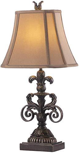 BUDBYU Lámpara de escritorio vintage de estilo americano, diseño de campo de jardín, de resina, lámpara de escritorio de dormitorio continental