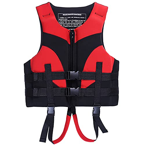 3 tamaños Chaqueta de Vida de la Vida Ajustable de la Hebilla de Seguridad + Espesado Cross Cross EPE Buoyania Padding de algodón Nadar Chaleco de Snorkel,Rojo,M